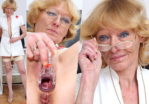 Eine heiße Blond-haarig reifen, Anna tut böse Dinge in ihrer Krankenschwester Uniform