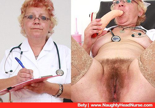 Krankenschwester Betty prüft einen riesigen Vibrator