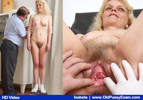 Mature Blonde Mutter mit Hairy Pussy Geprüft durch Muschi-Arzt